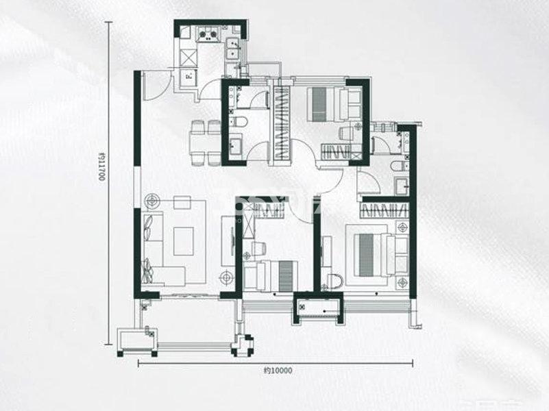雅居乐锦城3室2厅2卫1厨107.00㎡