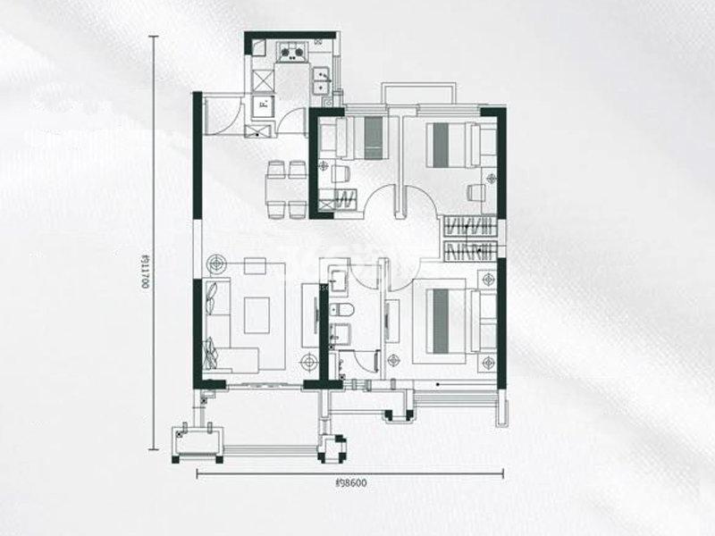 雅居乐锦城3室2厅1卫1厨95.00㎡