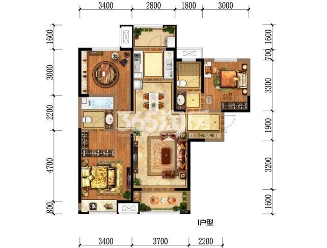 瑞和大唐府邸I户型三室两厅两卫一厨116.99m2