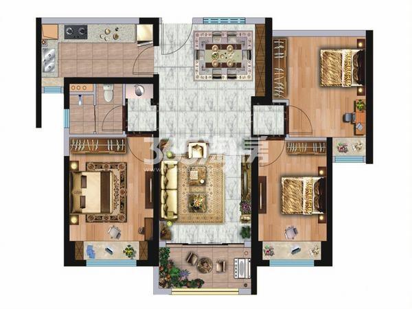 碧桂园凤凰城3室2厅1卫1厨95㎡户型图