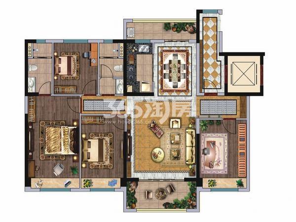 碧桂园凤凰城4室2厅2卫1厨140.00㎡户型图