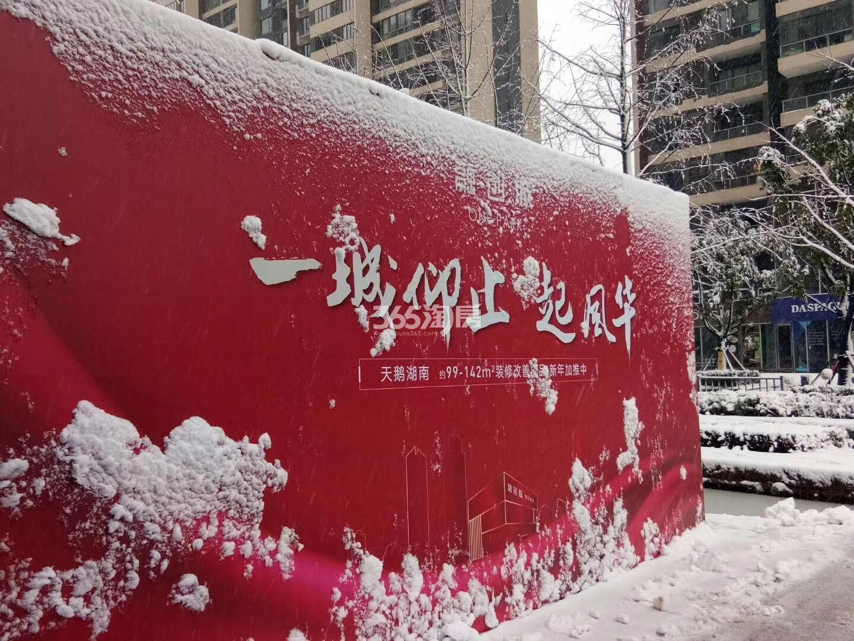雪景下的融创城宣传桁架(2018.1.4)