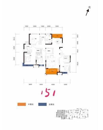 阳光城翡丽曲江洋房4室2厅3卫1厨151平户型