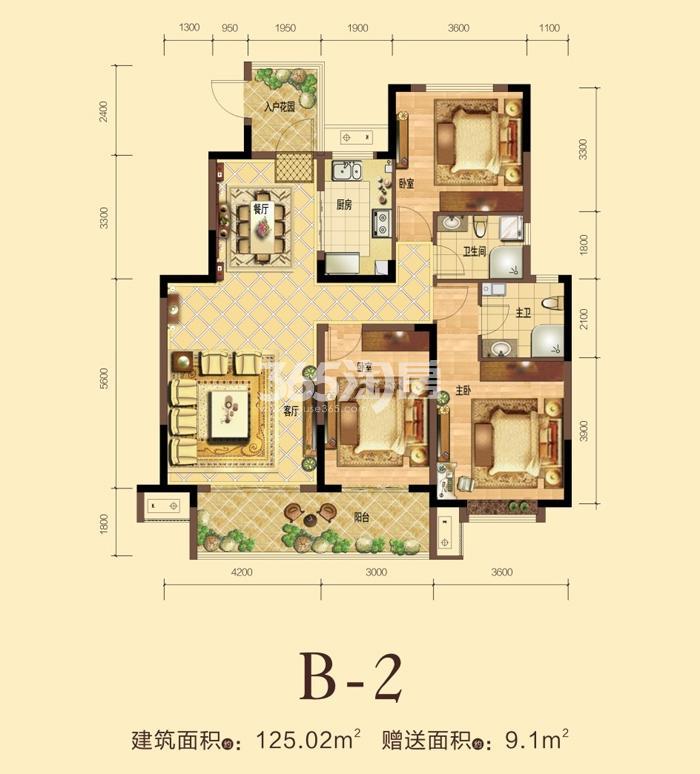 力高宝格丽天悦华府B-2户型三室两厅一厨两卫125.02平