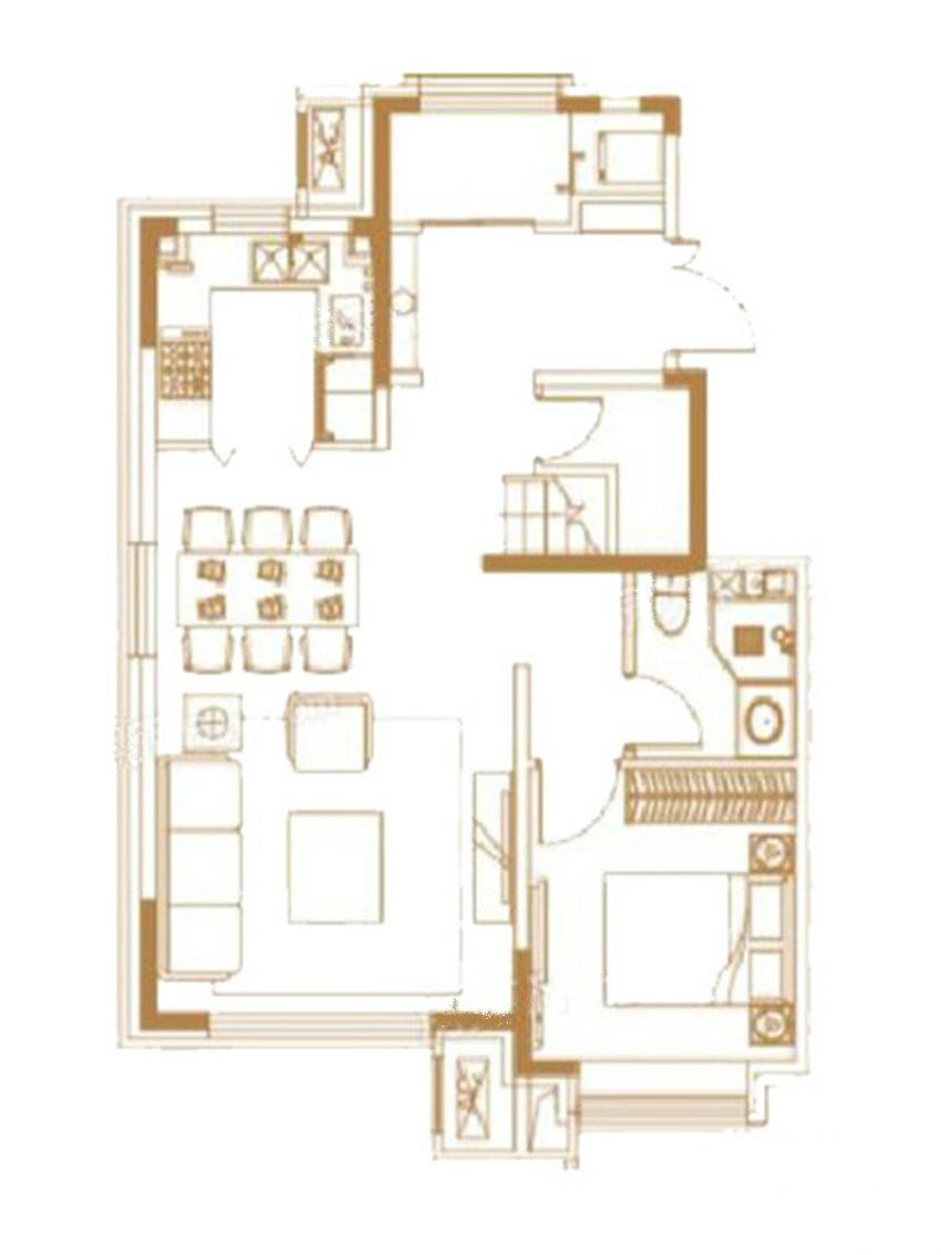 户型图 上叠户型 149.00平米 四室