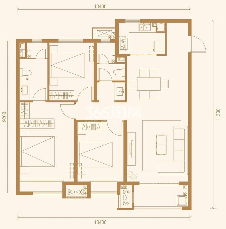中南上悦城三室两厅128㎡户型图