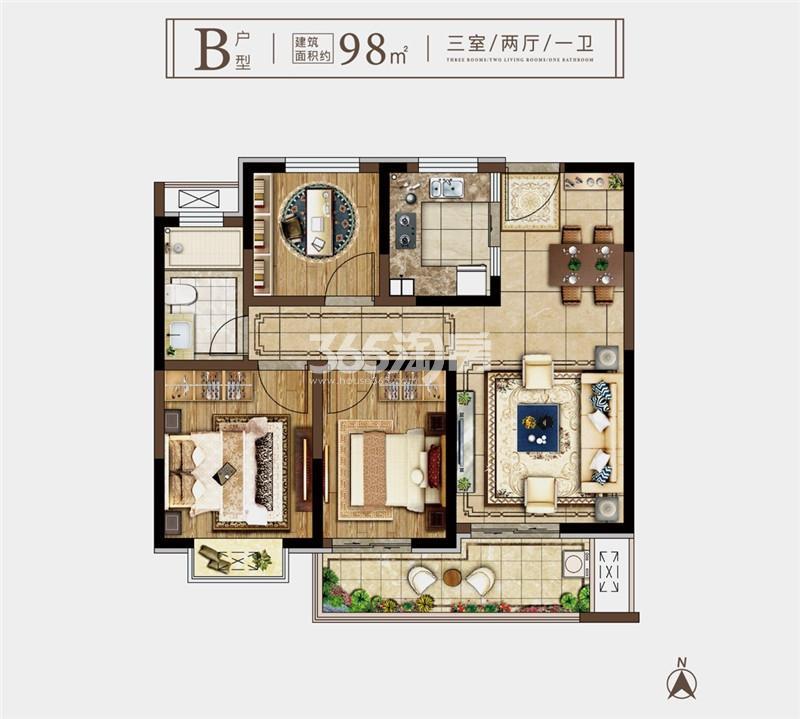 奥园玖珑天境B户型98㎡三室两厅一卫