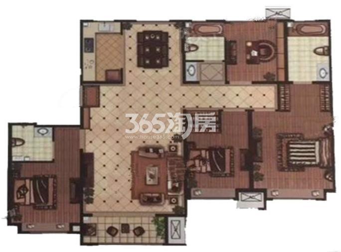 户型图 B户型 135.00平米 四室