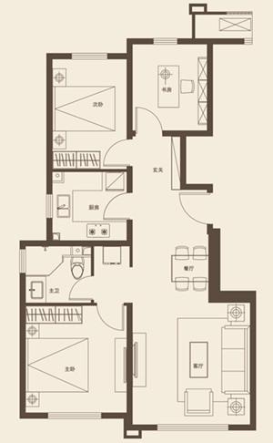 96平米三室两厅一卫