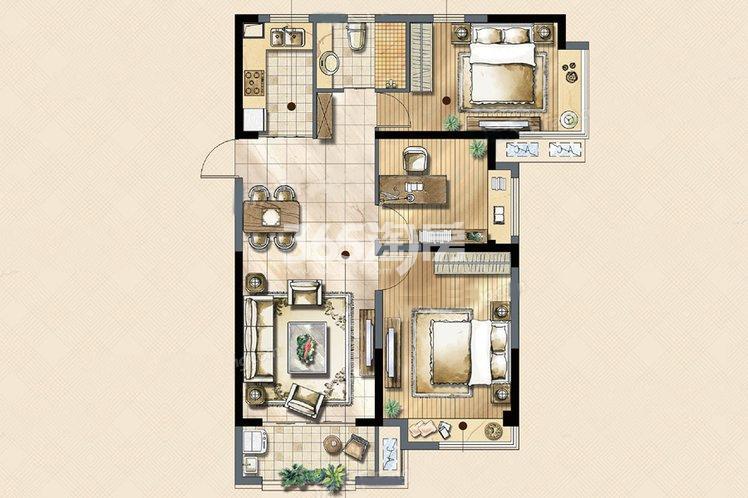 锦悦户型3室2厅1卫1厨98.00㎡