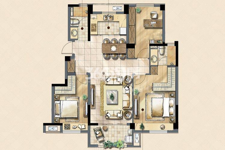 锦致户型3室2厅2卫1厨108.00㎡