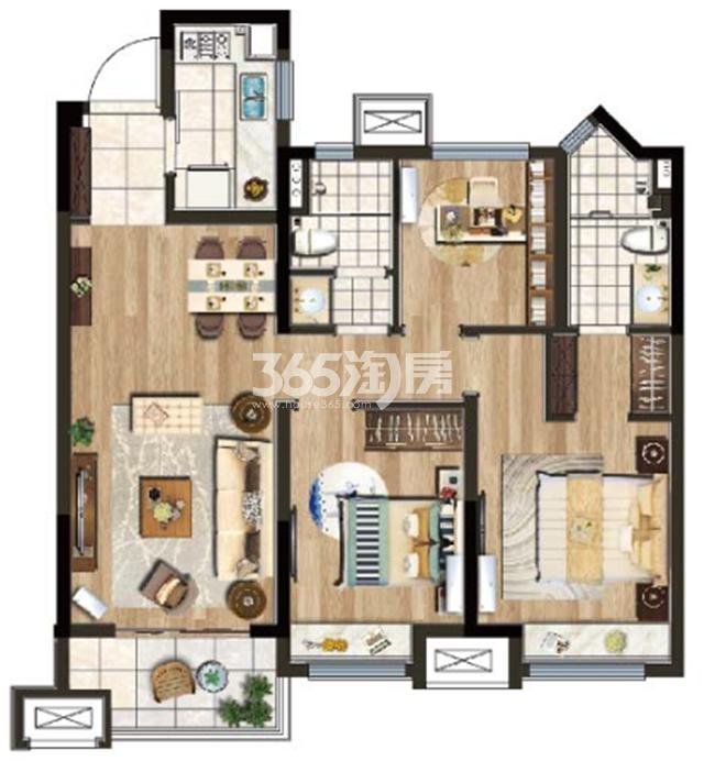 A户型建筑面积约100㎡三室两厅两卫