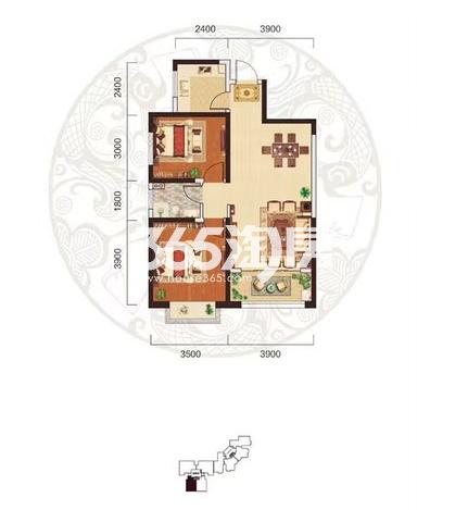 阳光台365 B户型两室两厅一卫84.56㎡