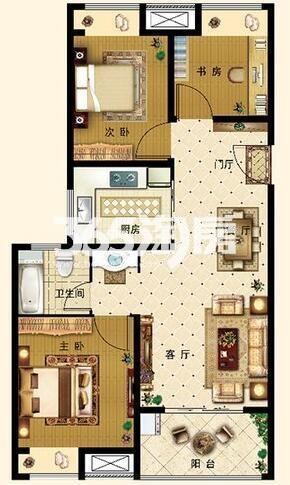 D户型 3室2厅1卫1厨