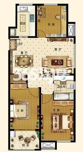 C2户型 3室2厅1卫1厨