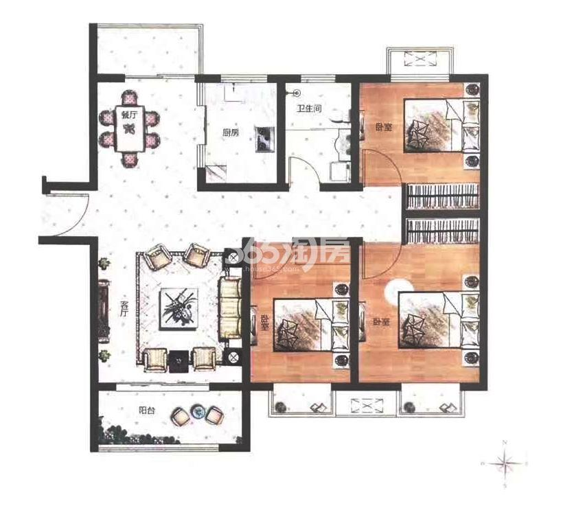 A户型建筑面积约115㎡三室两厅一卫