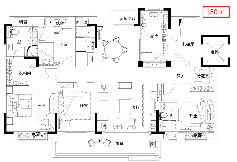 安庆碧桂园长江万里四室两厅两卫180平米户型图