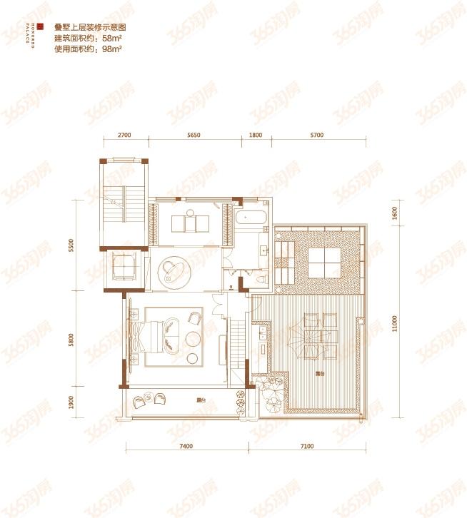 顶层叠墅户型图——上层装修示意图