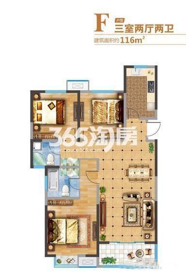 悦美国际2期7#/8#/11#F户型3室2厅1厨2卫116.00㎡