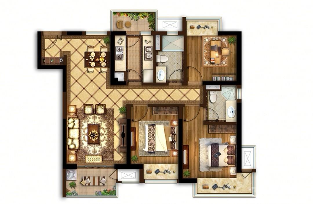 富力城3室2厅2卫109平米整租精装
