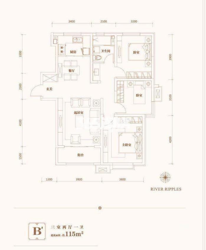 3室2厅2卫 115平米