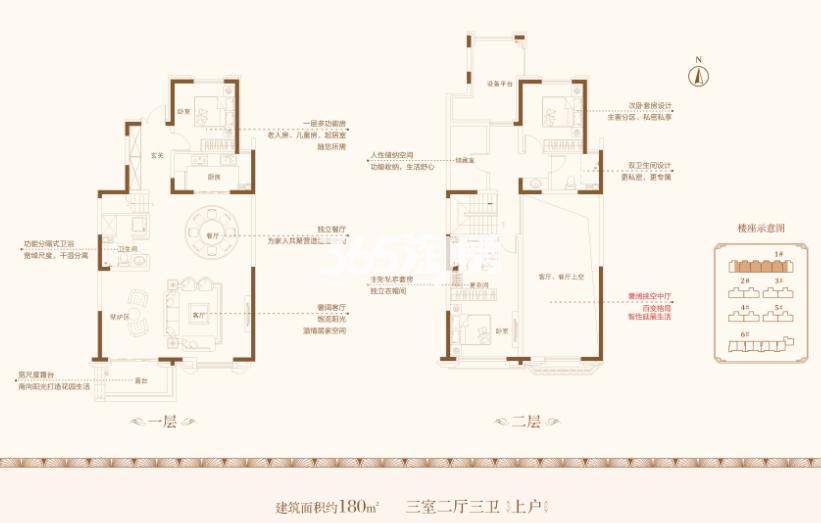 中海昆明路九号私墅B上户三室两厅两卫一厨180㎡