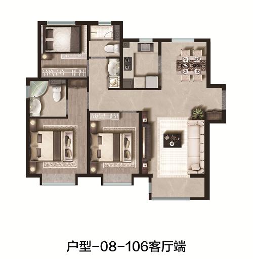 106平米 3室2厅2卫 端户