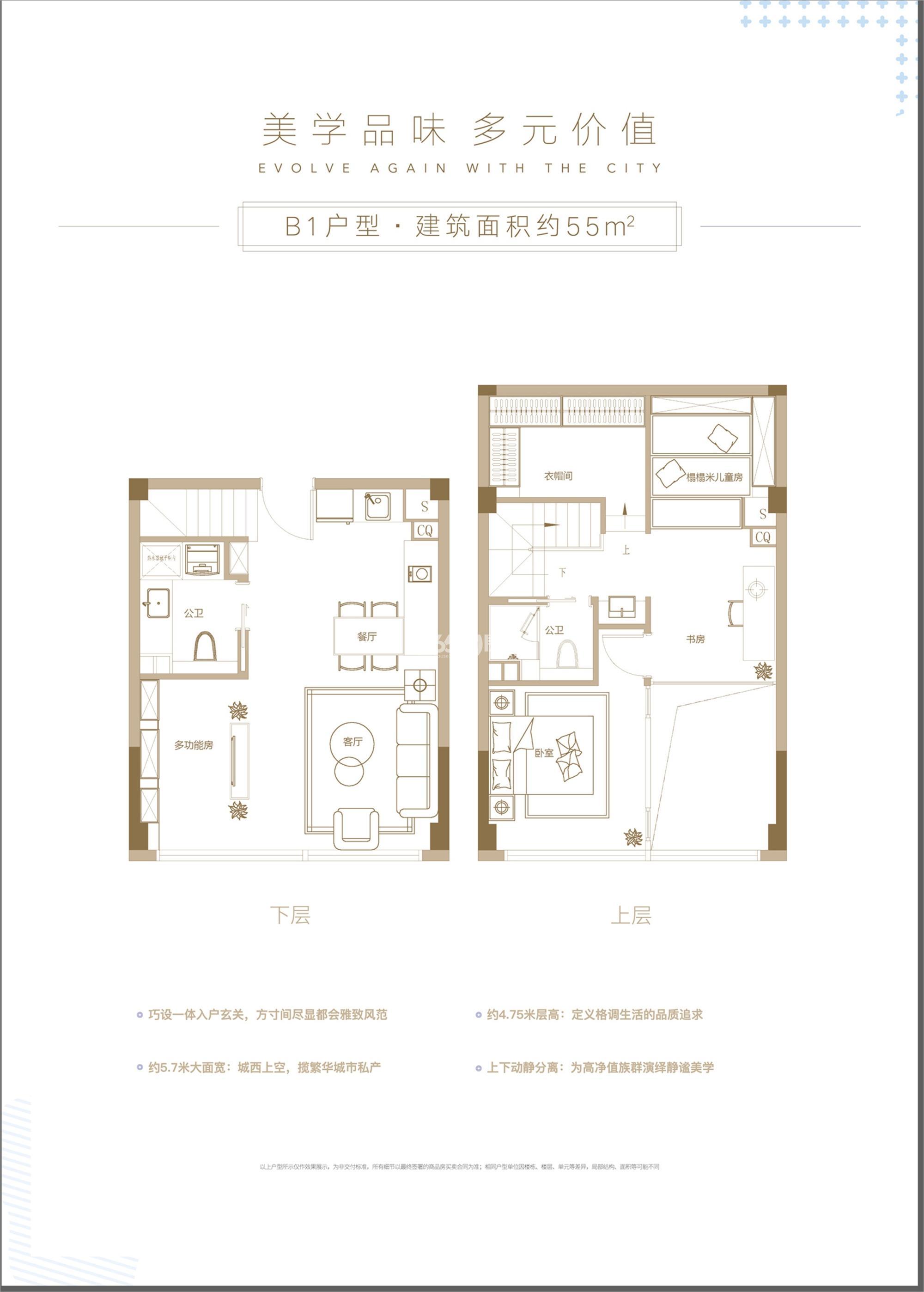 杭州世茂泰禾中央广场B1户型55方单钥匙设计