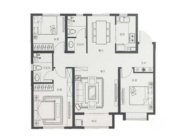 120平米三室两厅两卫