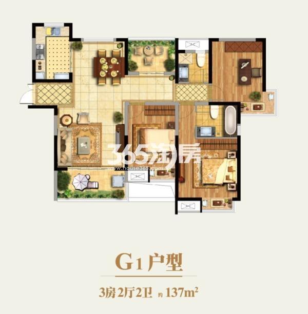 水漾花城G1户型 3室2厅2卫 137㎡