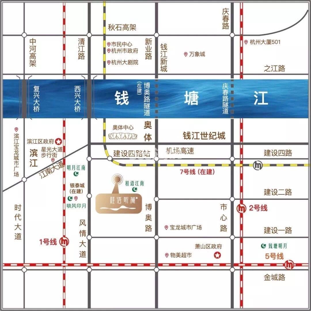绿城桂语听澜轩交通图