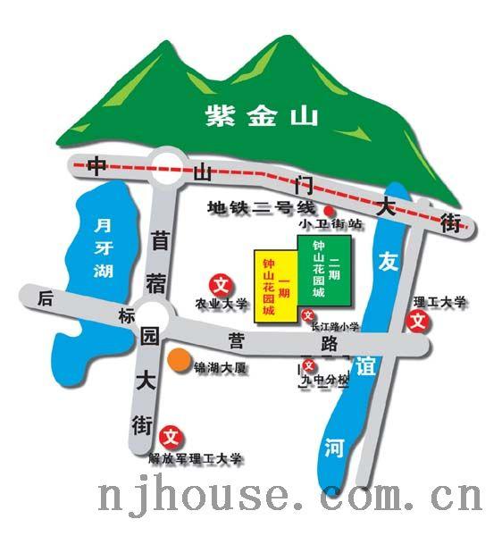 钟山花园城交通图