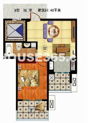一室一厅一卫约57.48㎡
