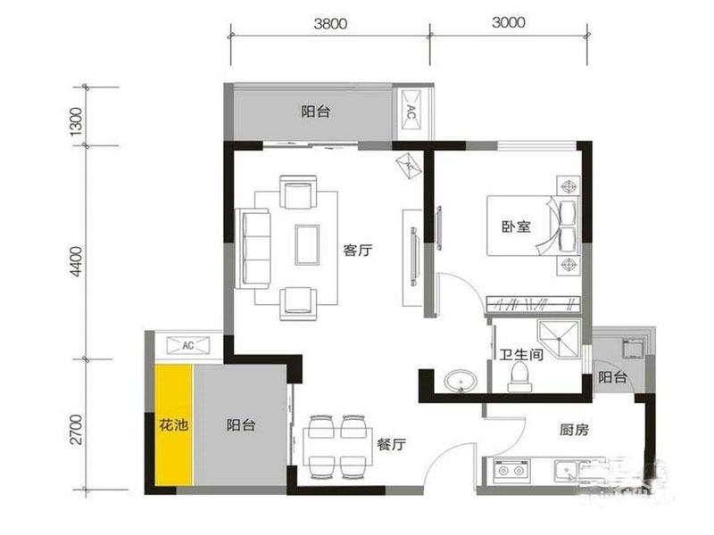 5号楼P  1室2厅1卫 67平米