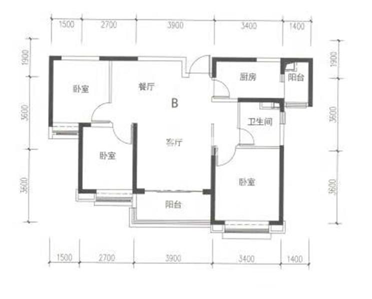 11#楼标准层三室B户型图
