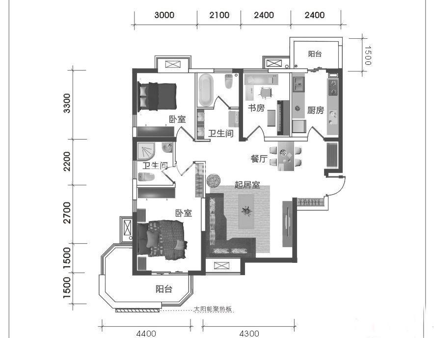 西岸国际花园东苑A1三室两厅两卫118㎡