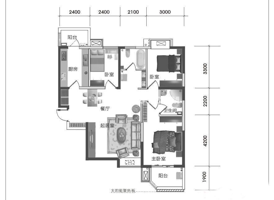 西岸国际花园东苑A2户型三室两厅一厨两卫114㎡