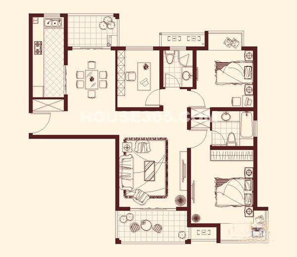 石湖华城41、43#H户型 3室2厅2卫1厨 130.00㎡