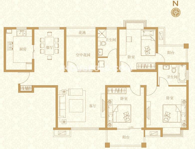 C4户型3室2厅2卫122