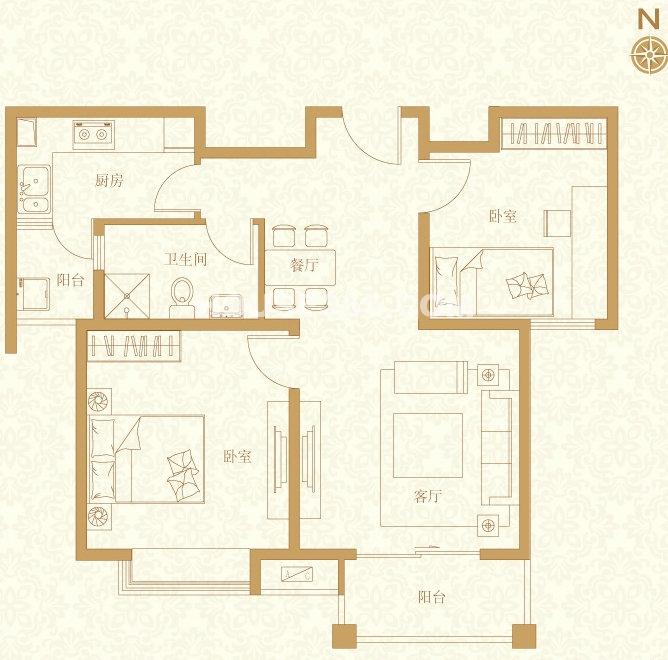 C3户型2室2厅1卫78