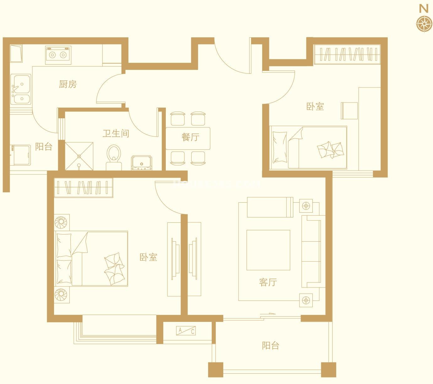 六期c2和c3户型2室2厅1卫