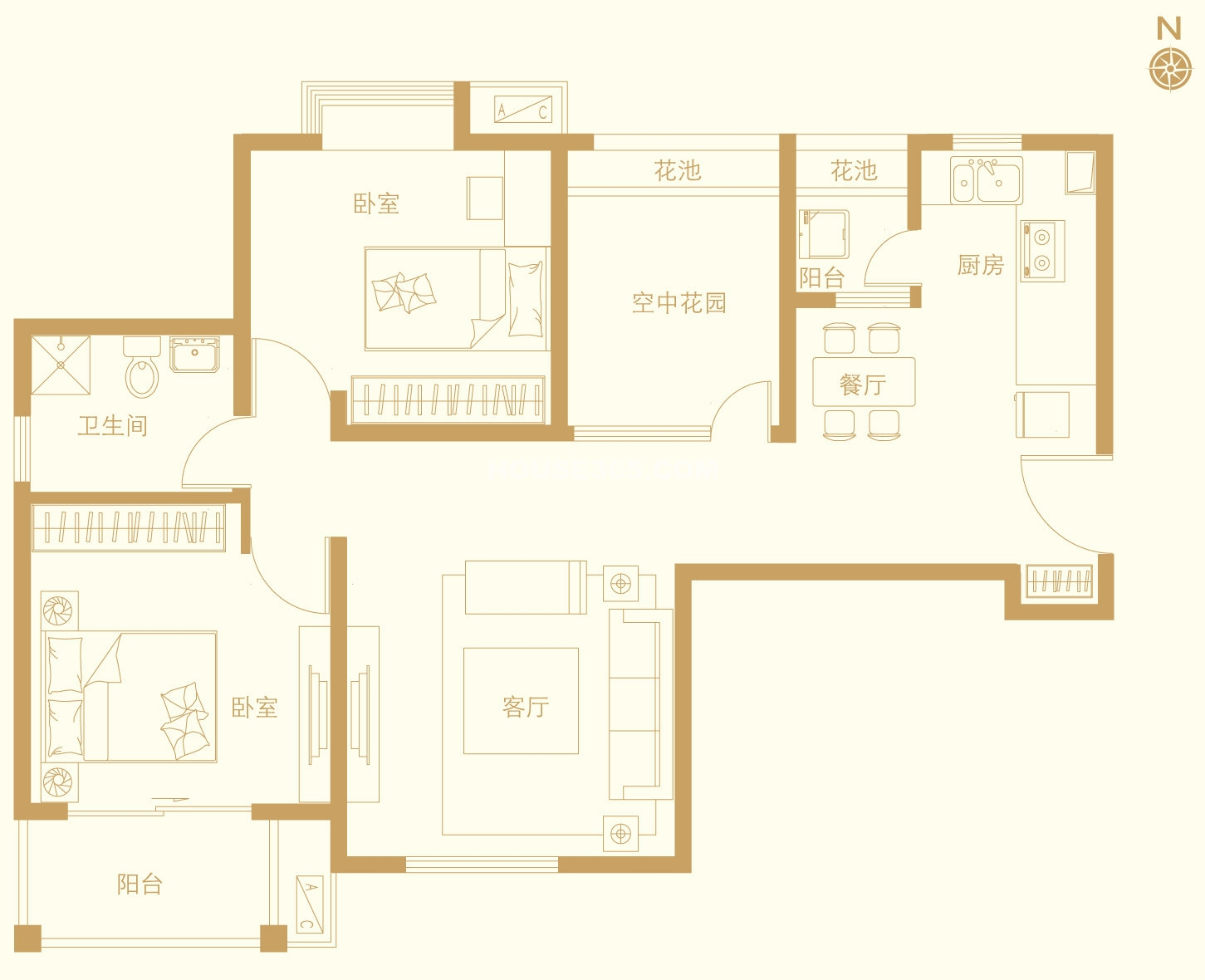 六期b1户型2室2厅1卫