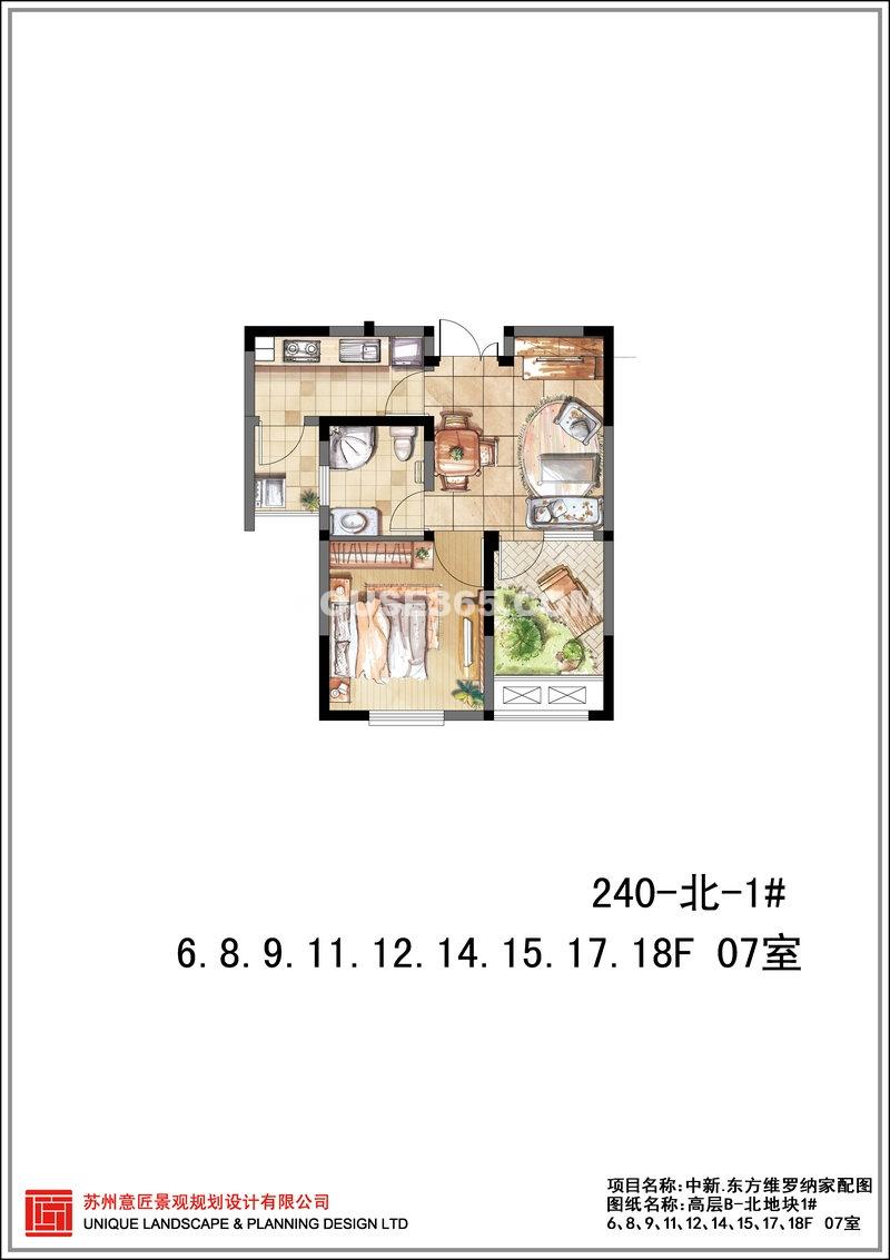东方维罗纳高层B-北地块1#07室 1室1厅1卫