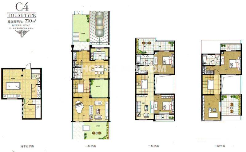 中房澜泊湾联排别墅C4户型3室3厅4卫1厨220.00㎡