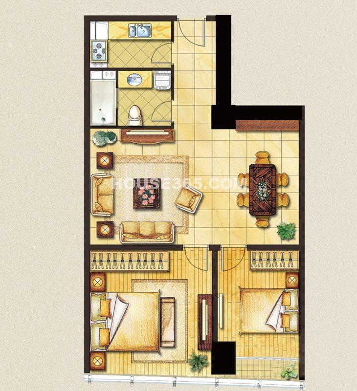 苏州凤凰文化广场A3户型2室2厅1卫1厨110㎡