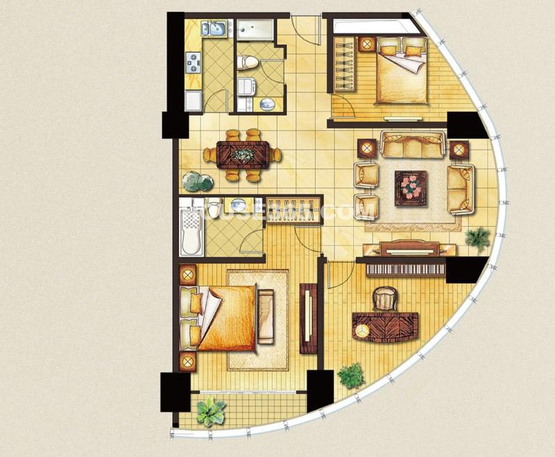 苏州凤凰文化广场A1户型3室2厅2卫1厨150㎡