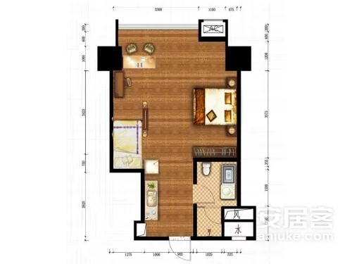 公寓C户型, 商住, 建筑面积约59.05平米