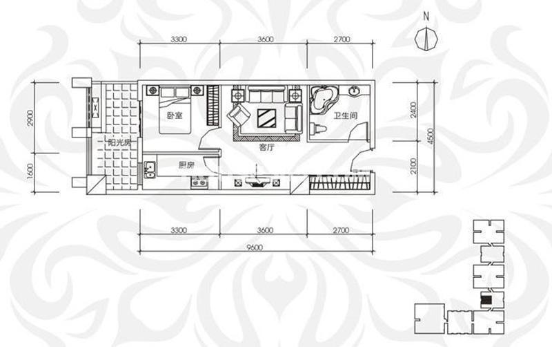 中贸广场16号楼14/15层 1室1厅1厨1卫 66㎡
