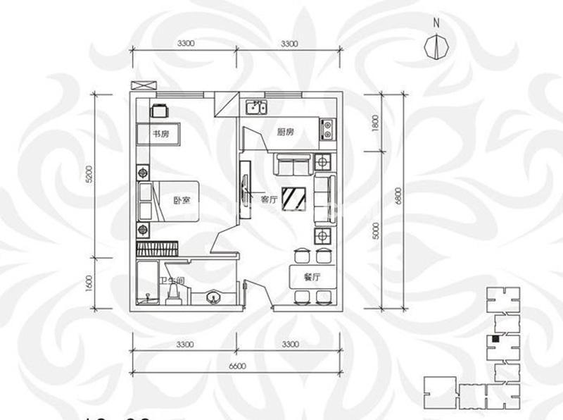 中贸广场16号楼6层 1室2厅1厨1卫 57㎡