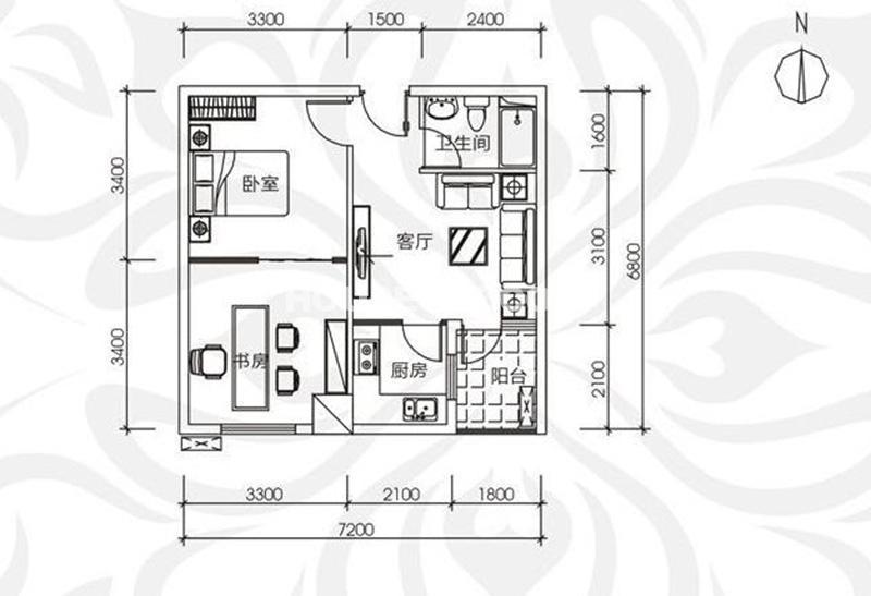 中贸广场16号楼11层 2室1厅1厨1卫 62㎡